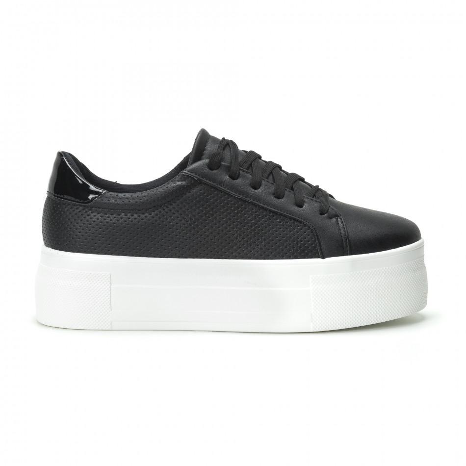 Γυναικεία μαύρα sneakers με πλατφόρμα it250119-41