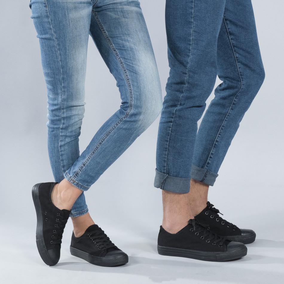 Κλασικά μαύρα sneakers για ζευγάρια cs-black-B340-B338
