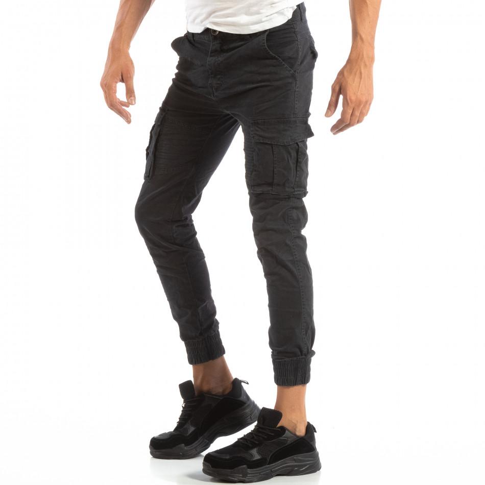Ανδρικό γκρι παντελόνι cargo Jogger με τσέπες it240818-8