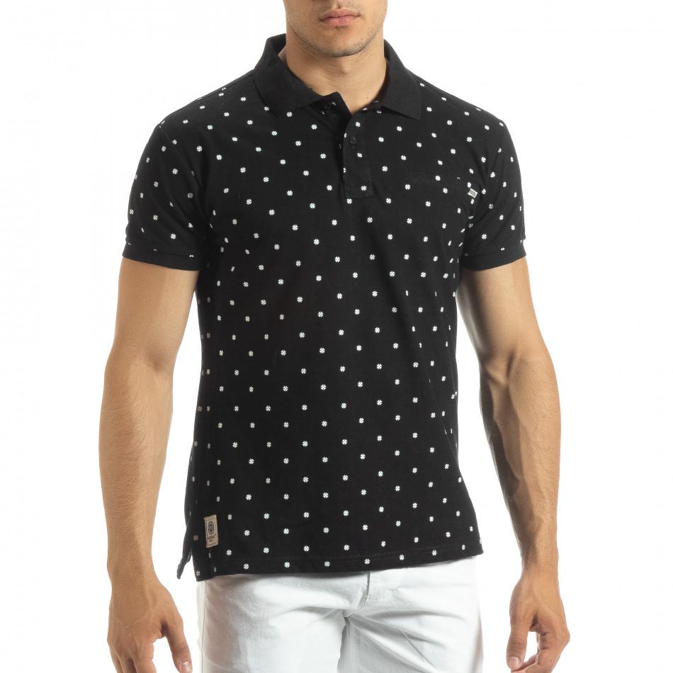 Ανδρική μαύρη polo shirt με Clover μοτίβο it120619-36
