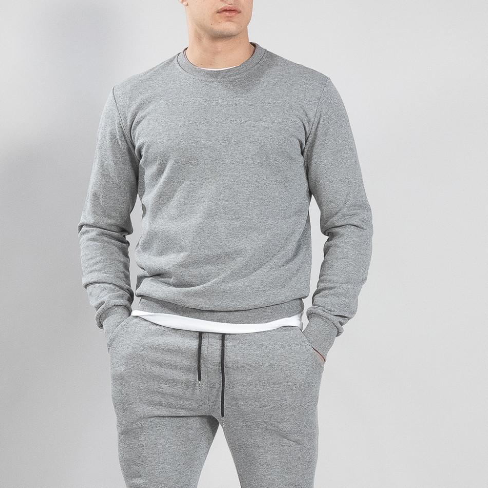 Ανδρική γκρι βαμβακερή μπλούζα Basic it150419-45