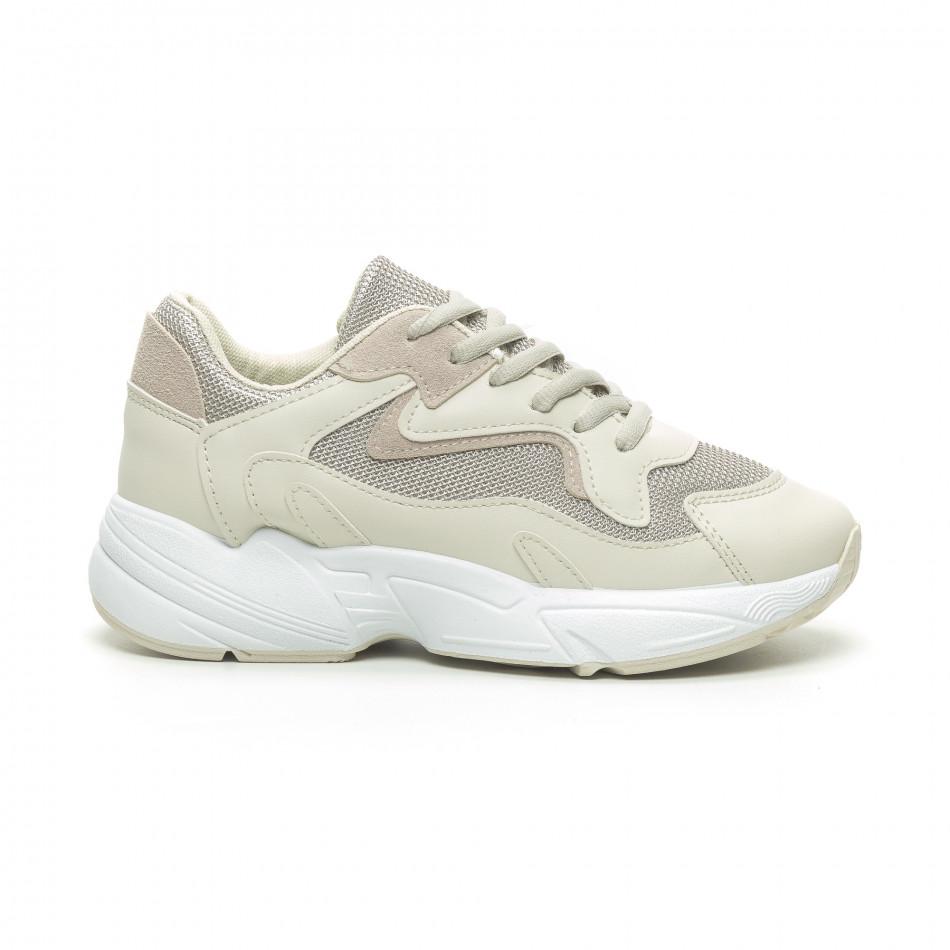 Γυναικεία μπεζ αθλητικά παπούτσια με χοντρή σόλα it230519-16