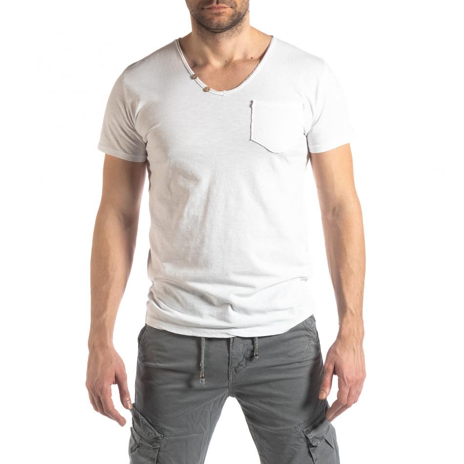 Ανδρική λευκή κοντομάνικη μπλούζα Vintage στυλ it210319-76