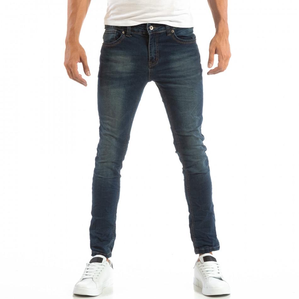 Ανδρικό μπλε τζιν Slim Jeans με τσαλακωμένο εφέ it240818-49