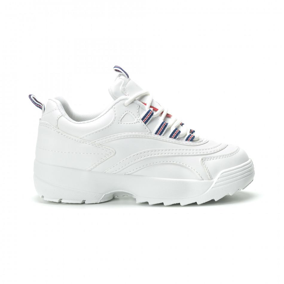 Γυναικεία λευκά sneakers με πλατφόρμα it250119-87