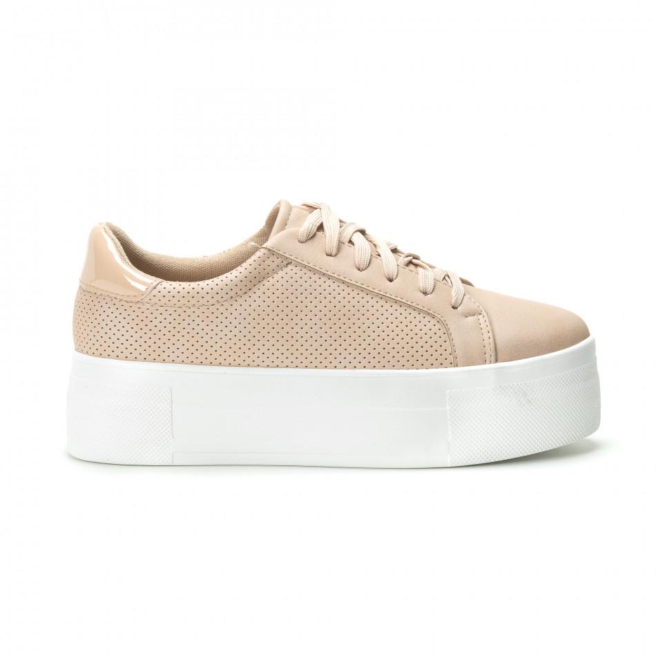 Γυναικεία μπεζ sneakers με πλατφόρμα it250119-40