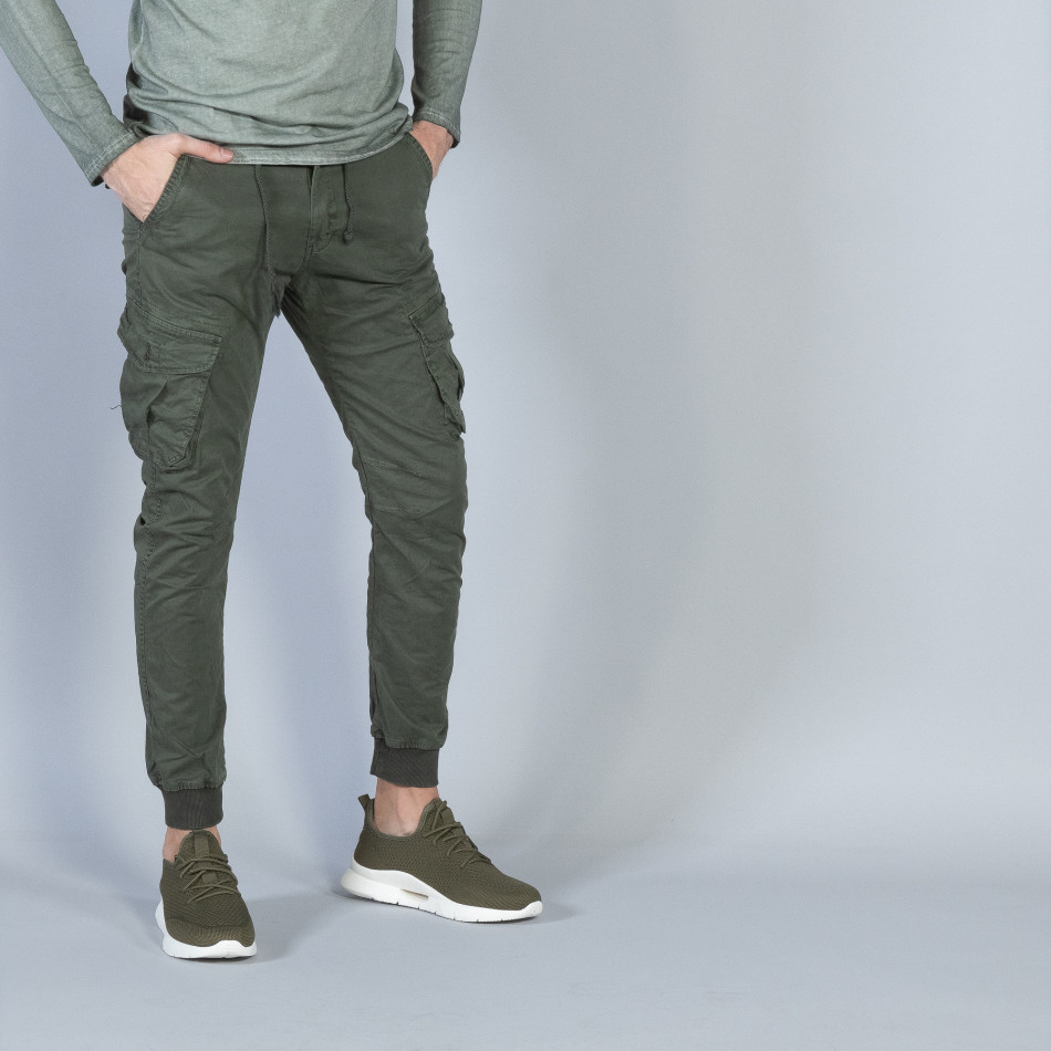 Ανδρικό πράσινο Cargo Jogger παντελόνι it040219-28