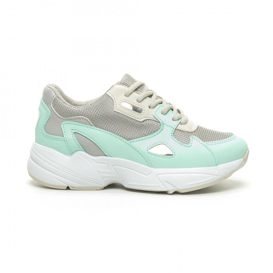 Γυναικεία πράσινα αθλητικά παπούτσια με χοντρή σόλα it230519-18