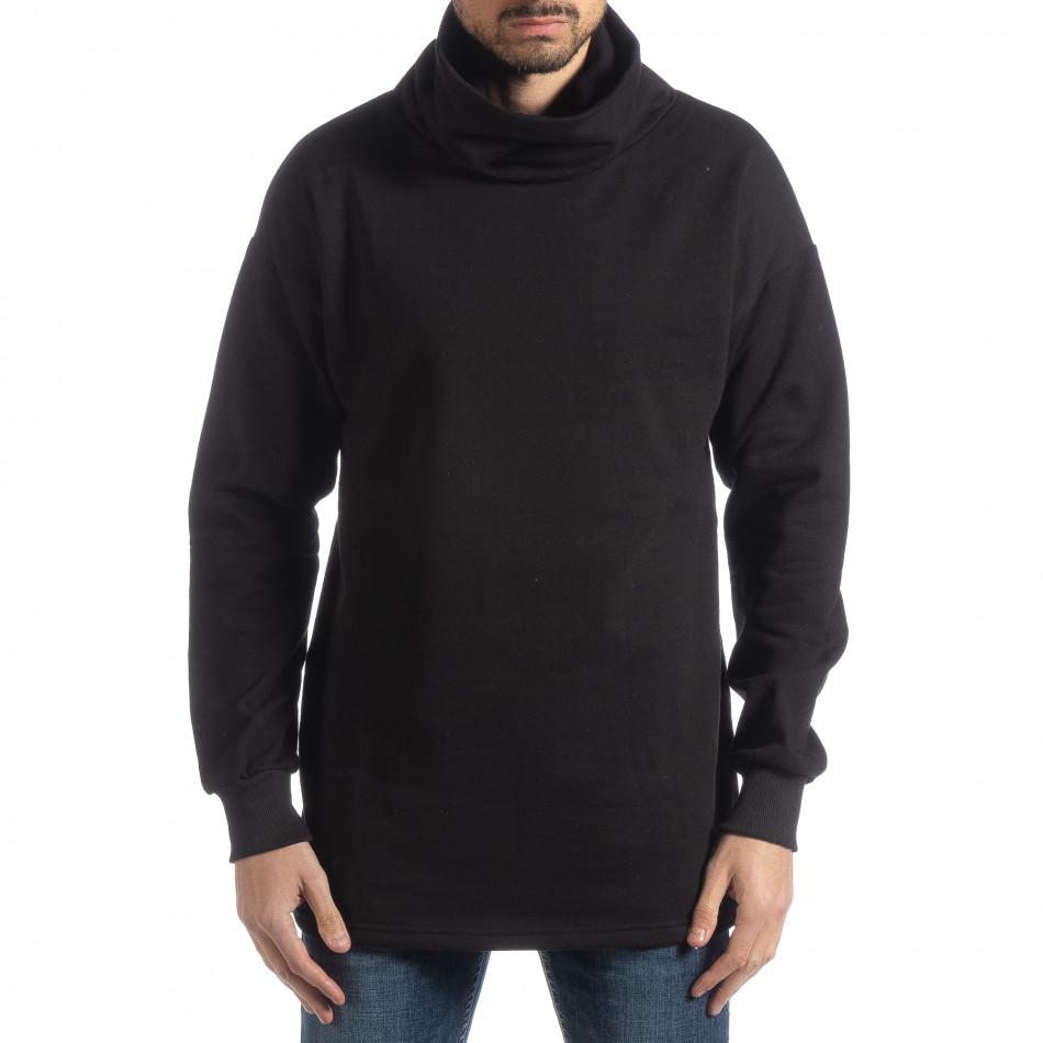 Ανδρική μαύρη μπλούζα με γιακά Oversized it051218-42