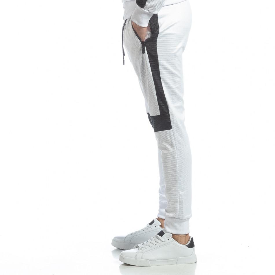 Ανδρική λευκή φόρμα με μαύρες ρίγες it040219-75