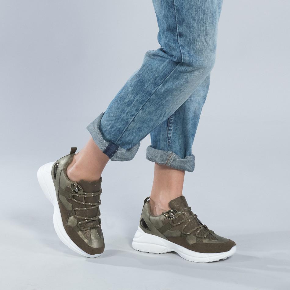 Γυναικεία χακί sneakers με πλατφόρμα it250119-35