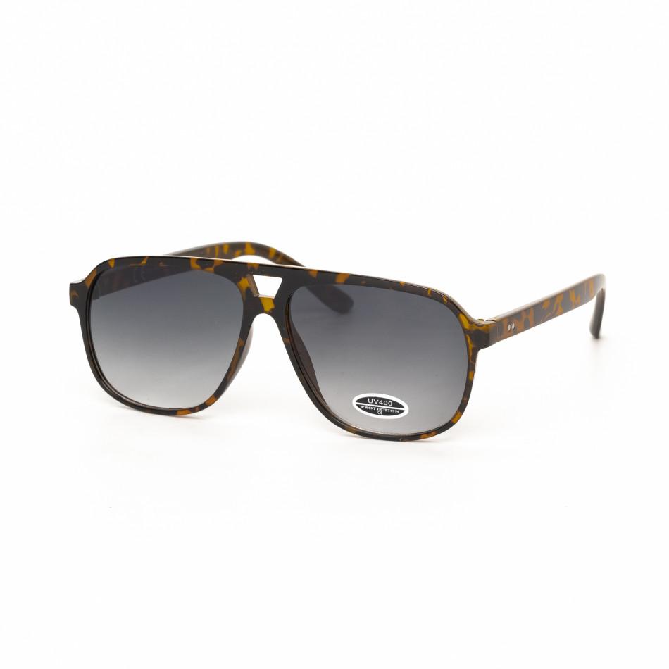 Ανδρικά κλασικά καφέ γυαλιά ηλίου με λεοπάρ μοτίβο it030519-40