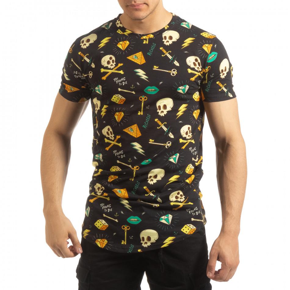 Ανδρική πολύχρωμη κοντομάνικη μπλούζα Skull it090519-60