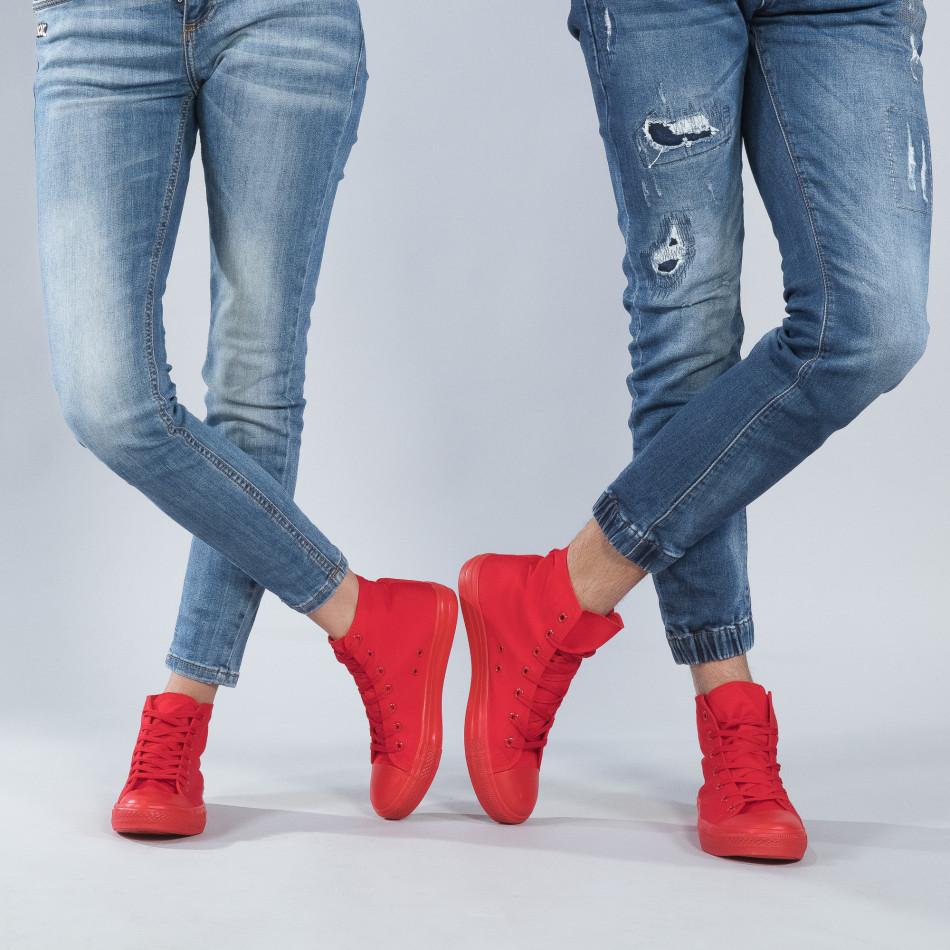 Ψηλά κόκκινα sneakers για ζευγάρια cs-red-B341-B339