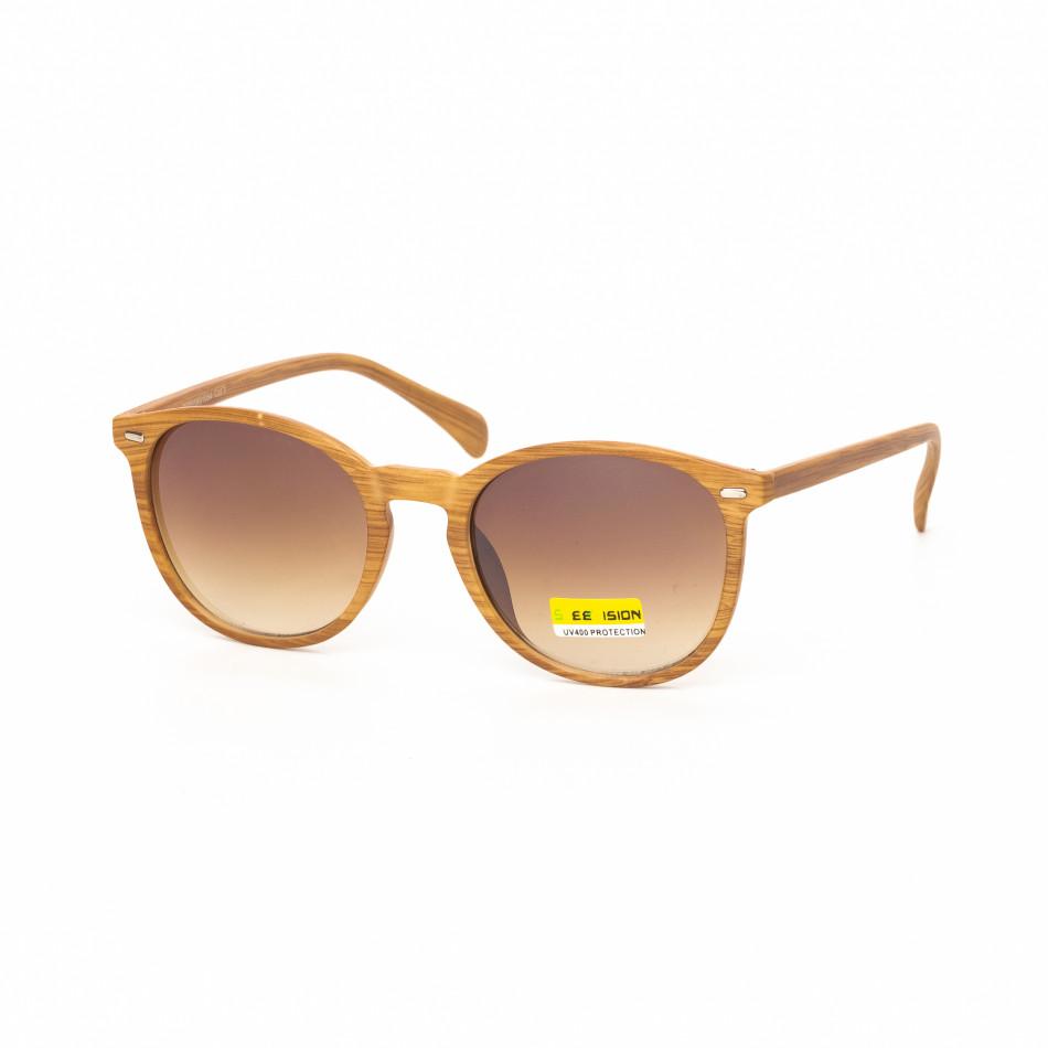 Ανδρικά καφέ γυαλιά ηλίου ξύλινο μοτίβο natural it030519-48