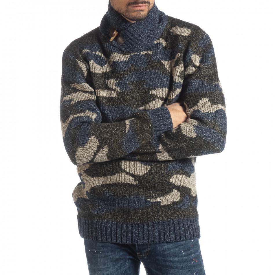 Ανδρικό μπλε πουλόβερ παραλλαγής με γιακά  it051218-51
