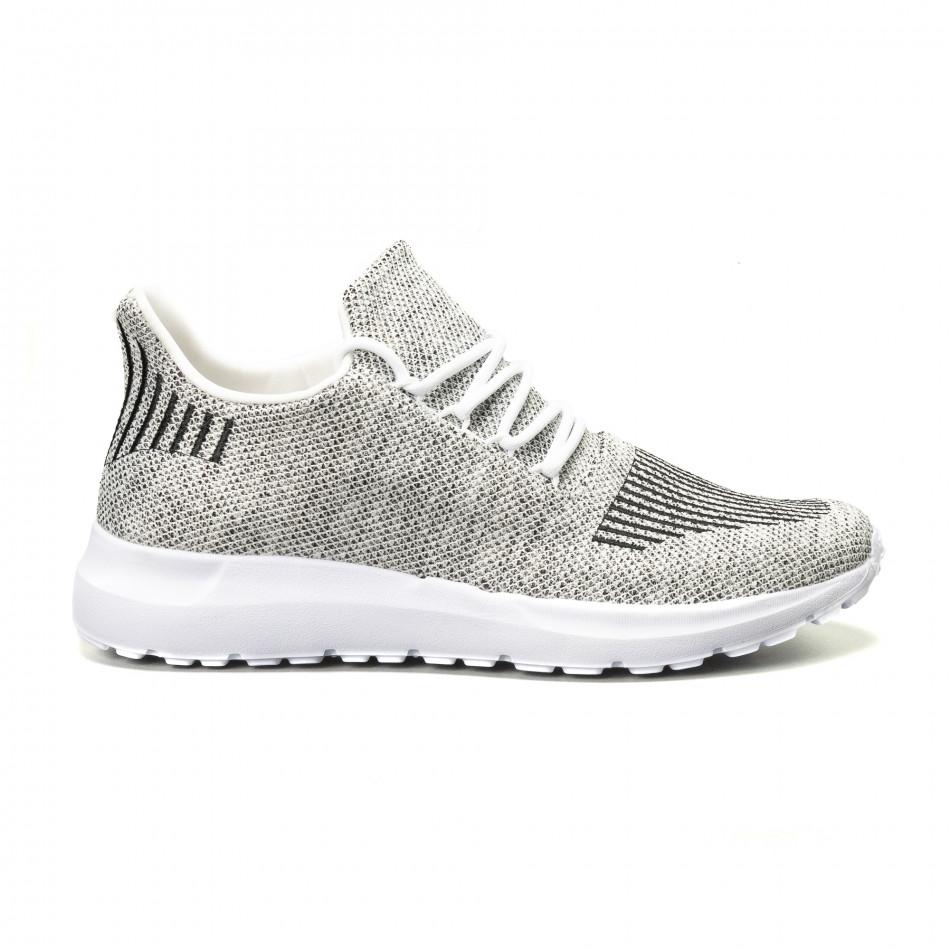 Ανδρικά λευκά μελάνζ αθλητικά παπούτσια it140918-18