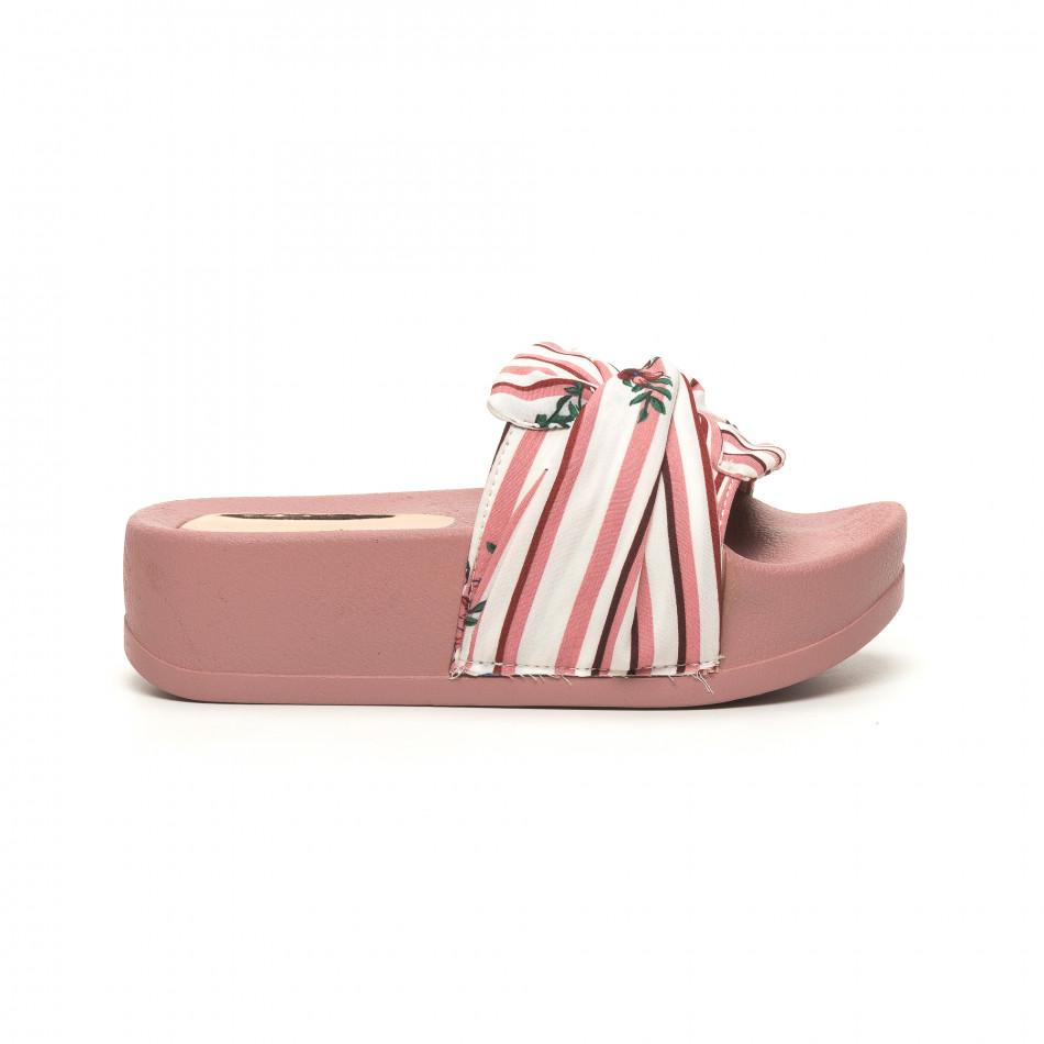 Γυναικείες ροζ παντόφλες σατέν με πλατφόρμα it050619-47