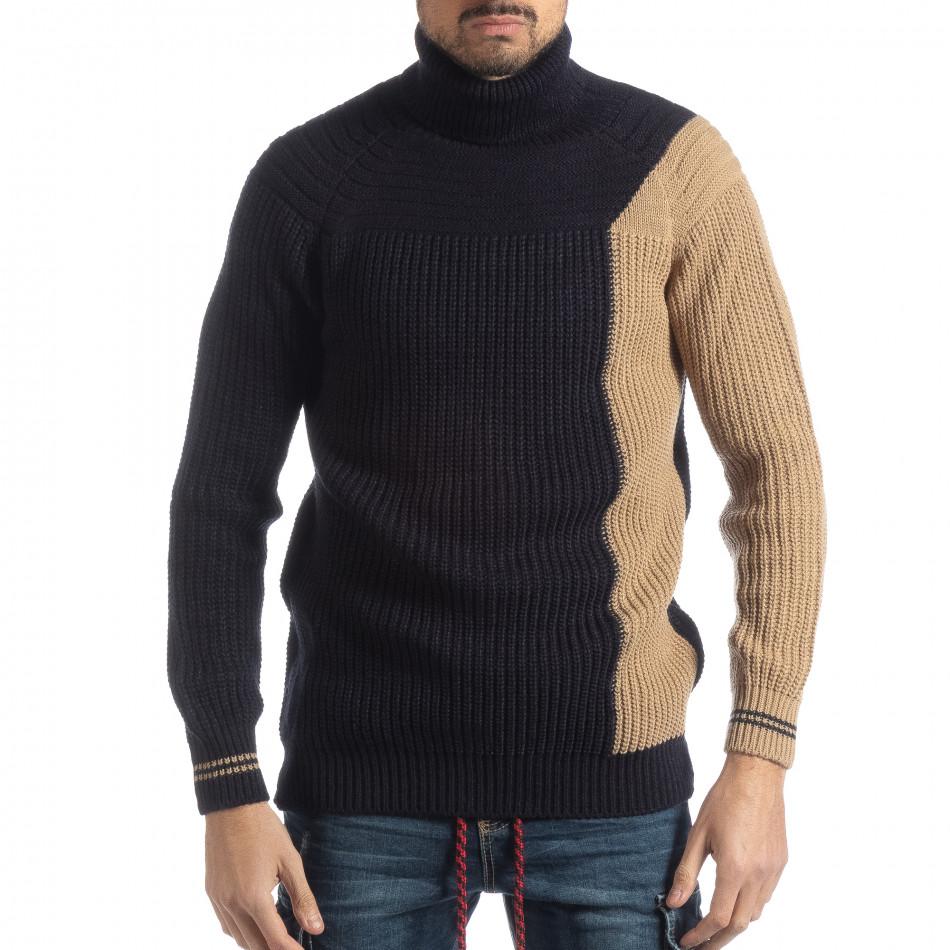 Ανδρικό πουλόβερ σε σκούρο μπλε και μπεζ it051218-56