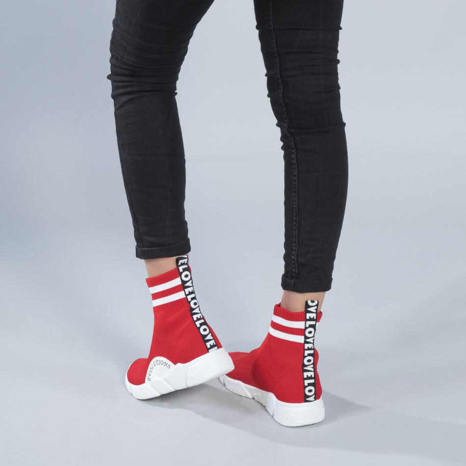 Γυναικεία κόκκινα ψηλά sneakers καλτσάκι it250119-58