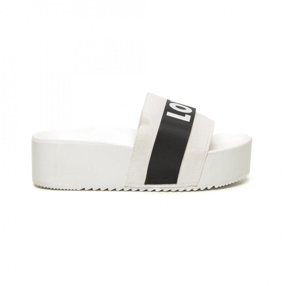 Γυναικείες λευκές παντόφλες Love it050619-56