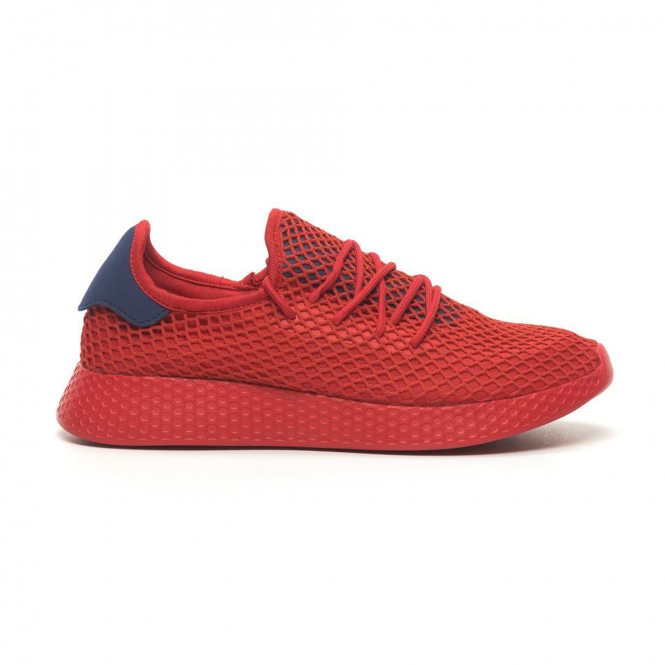 Ανδρικά κόκκινα αθλητικά παπούτσια Mesh με μπλε λεπτομέρειες it230519-8