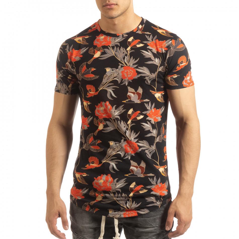 Ανδρική πολύχρωμη κοντομάνικη μπλούζα με εξωτικά σχέδια it090519-58