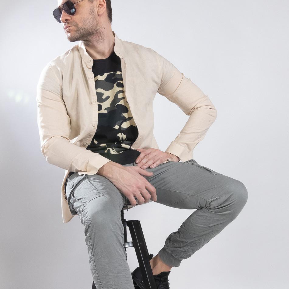 Ανδρικό μπεζ πουκάμισο από λινό και βαμβάκι it210319-101