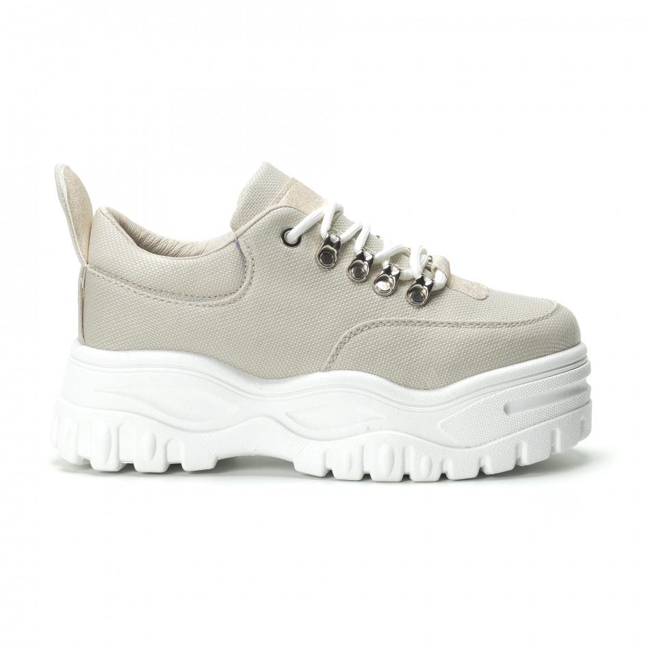 Γυναικεία μπεζ sneakers με πλατφοόρμα  it250119-92