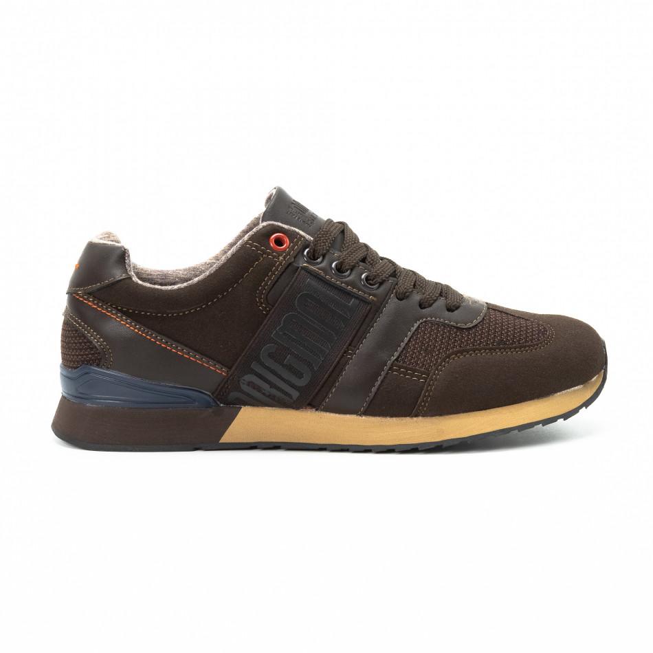 Ανδρικά καφέ αθλητικά παπούτσια από συνδυασμό υφασμάτων it140918-6