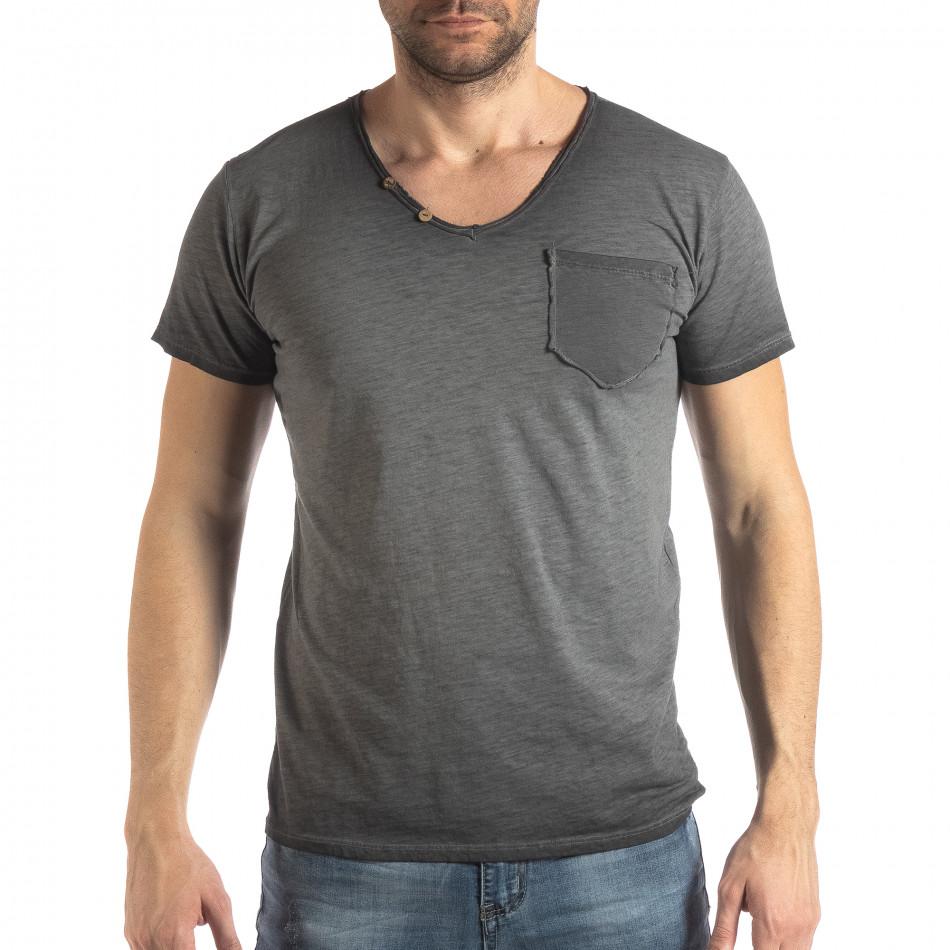 Ανδρική γκρι κοντομάνικη μπλούζα Vintage στυλ it210319-77