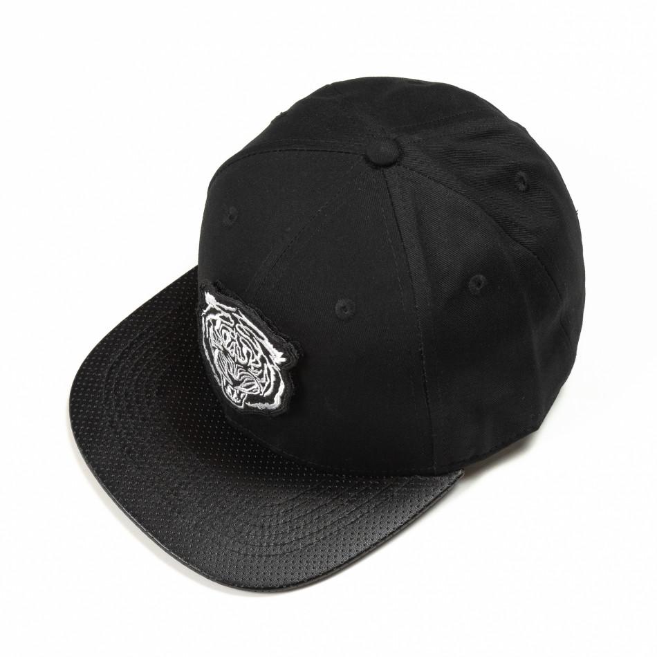 Μαύρο καπέλο με λευκή στάμπα it290818-7