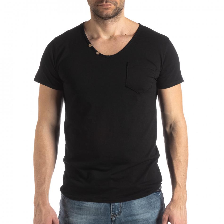 Ανδρική μαύρη κοντομάνικη μπλούζα Vintage στυλ it210319-78