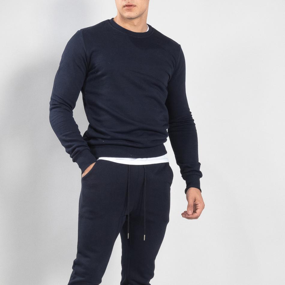 Ανδρική σκούρα μπλε βαμβακερή μπλούζα Basic it150419-47