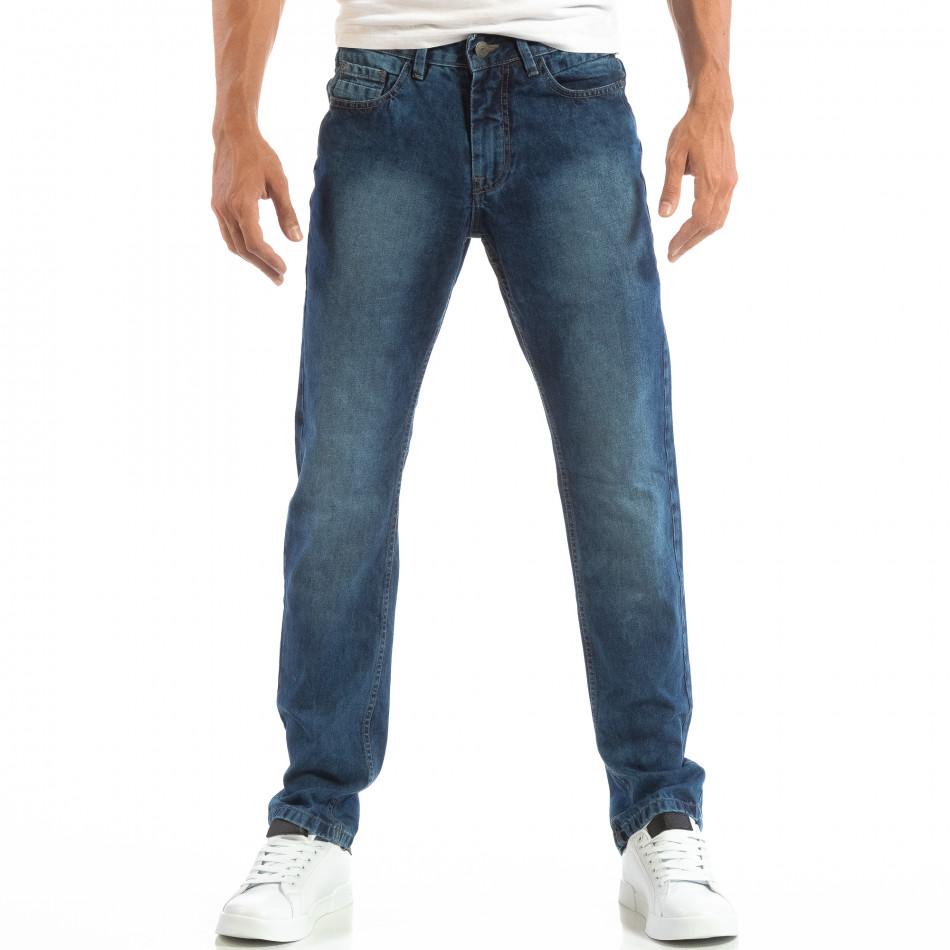 Ανδρικό γαλάζιο τζιν Regular fit με ξεθωριασμένο εφέ House lp060818-23