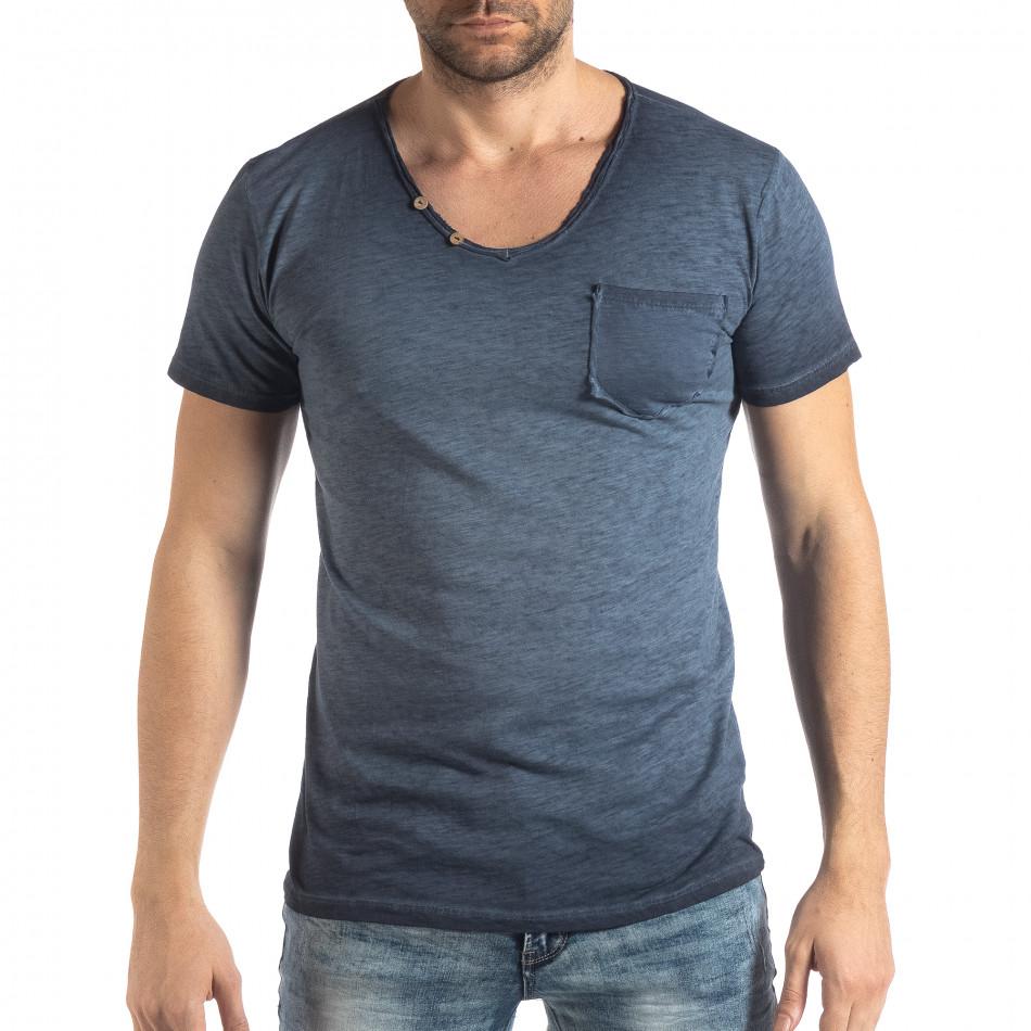 Ανδρική μπλε κοντομάνικη μπλούζα Vintage στυλ  it210319-79