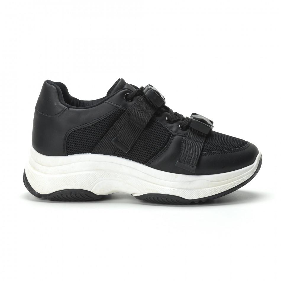 Γυναικεία μαύρα sneakers με μοντέρνο κούμπωμα it250119-62