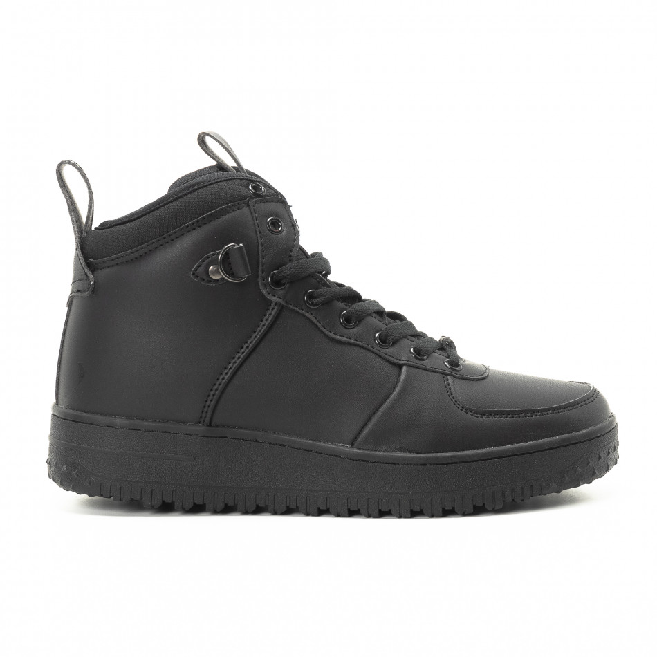 Ανδρικά μαύρα ψηλά sneakers με τρακτερωτή σόλα it301118-10
