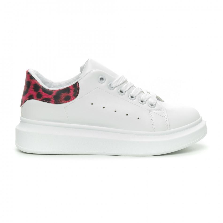 Γυναικεία λευκά sneakers με ροζ animal λεπτομέρεια it150319-47