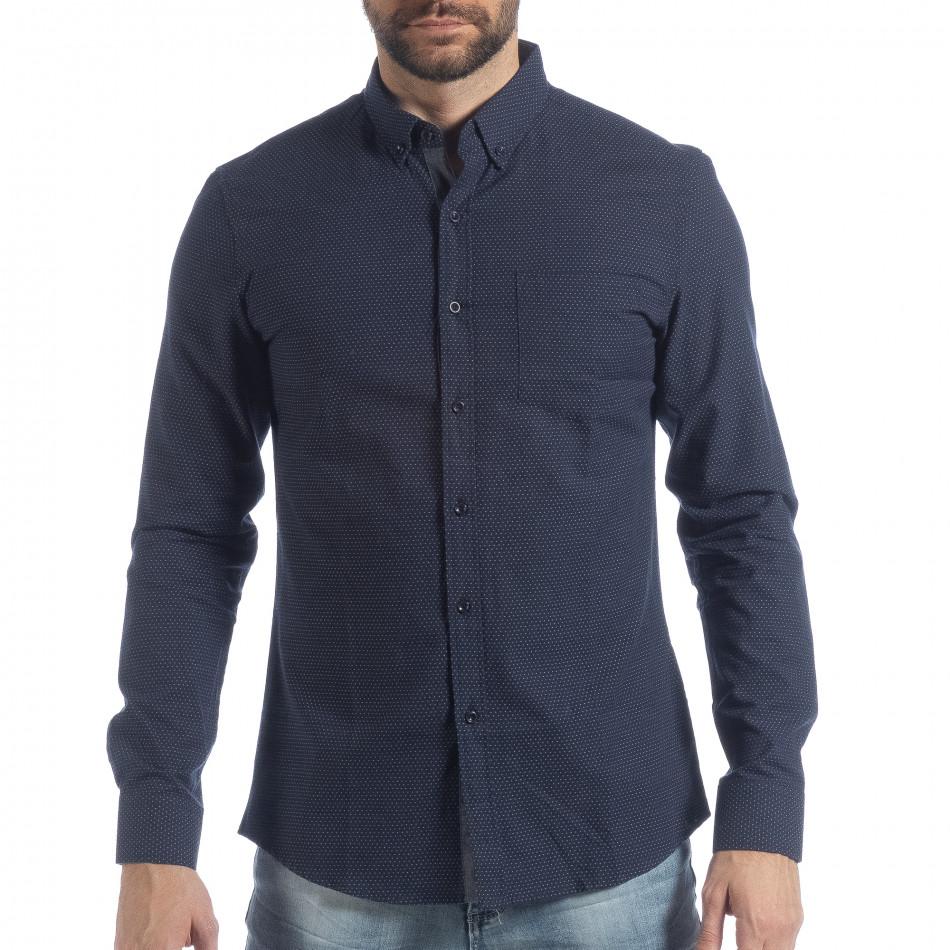 Ανδρικό μπλε πουά πουκάμισο Slim fit it040219-122