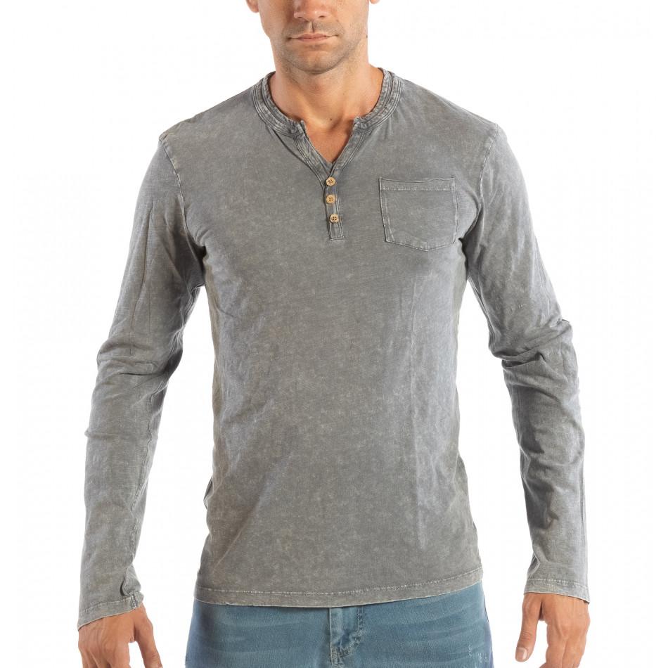 Ανδρική γκρι μπλούζα με κουμπιά House lp070818-21