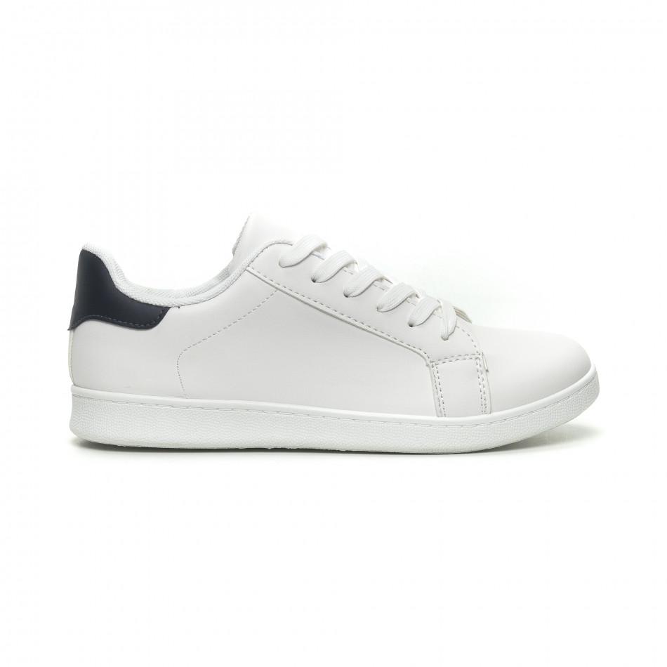 Ανδρικά λευκά αθλητικά παπούτσια με μπλέ λεπτομέρεια it040619-2