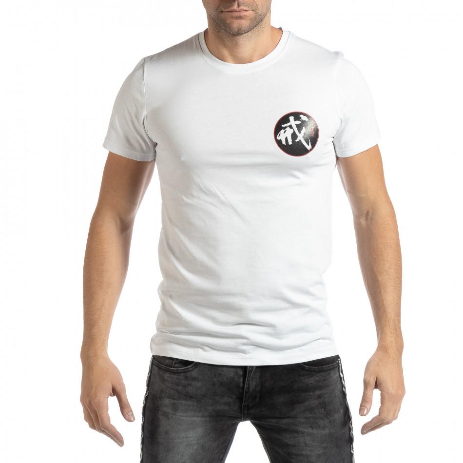 Ανδρική λευκή κοντομάνικη μπλούζα με ανατολίτικο μοτίβο it261018-118