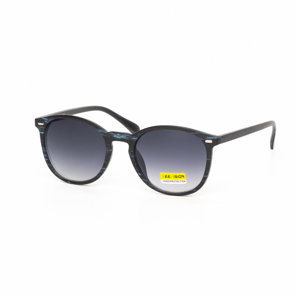 Ανδρικά μπλε γυαλιά ηλίου ξύλινο μοτίβο it030519-46