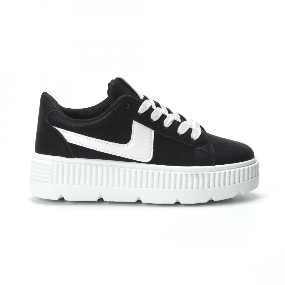 Γυναικεία μαύρα sneakers με πλατφόρμα και λευκή λεπτομέρεια it250119-96