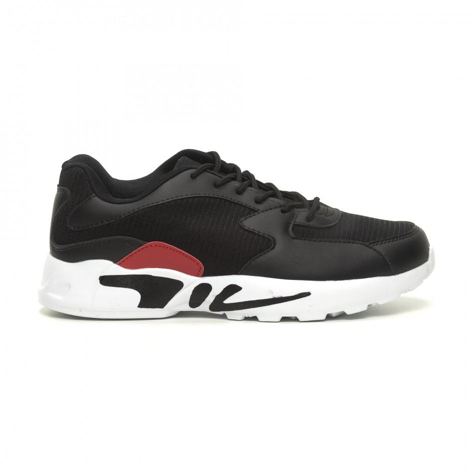 Ανδρικά ελαφριά αθλητικά παπούτσια με χοντρή σόλα σε μαύρο it040619-11