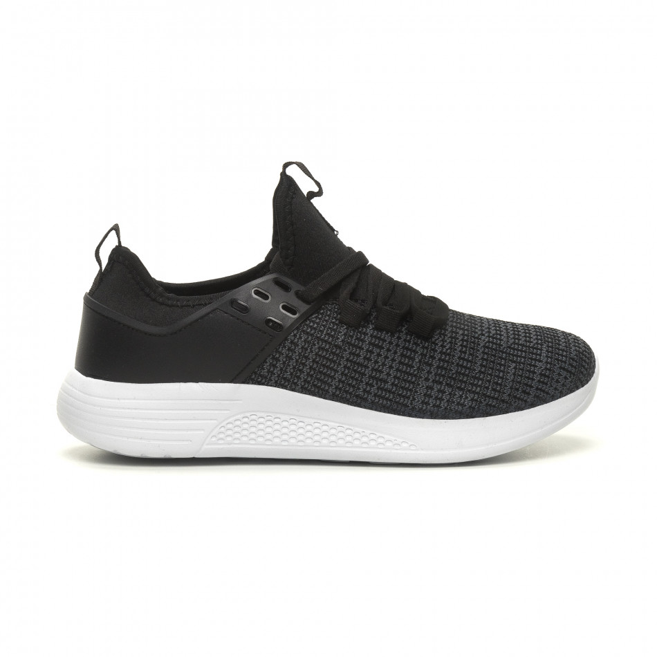 Ανδρικά μαύρα μελάνζ αθλητικά παπούτσια ελαφρύ μοντέλο it040619-4