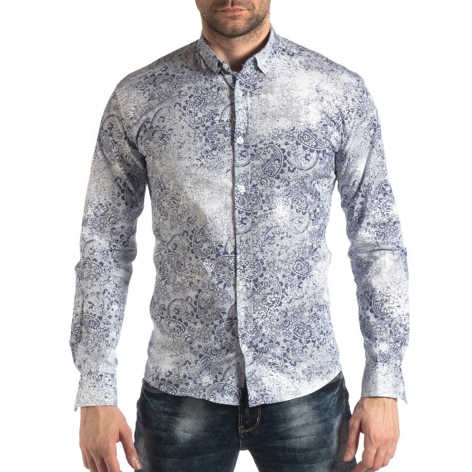 Ανδρικό λευκό Slimf fit πουκάμισο Vintage στυλ it210319-97