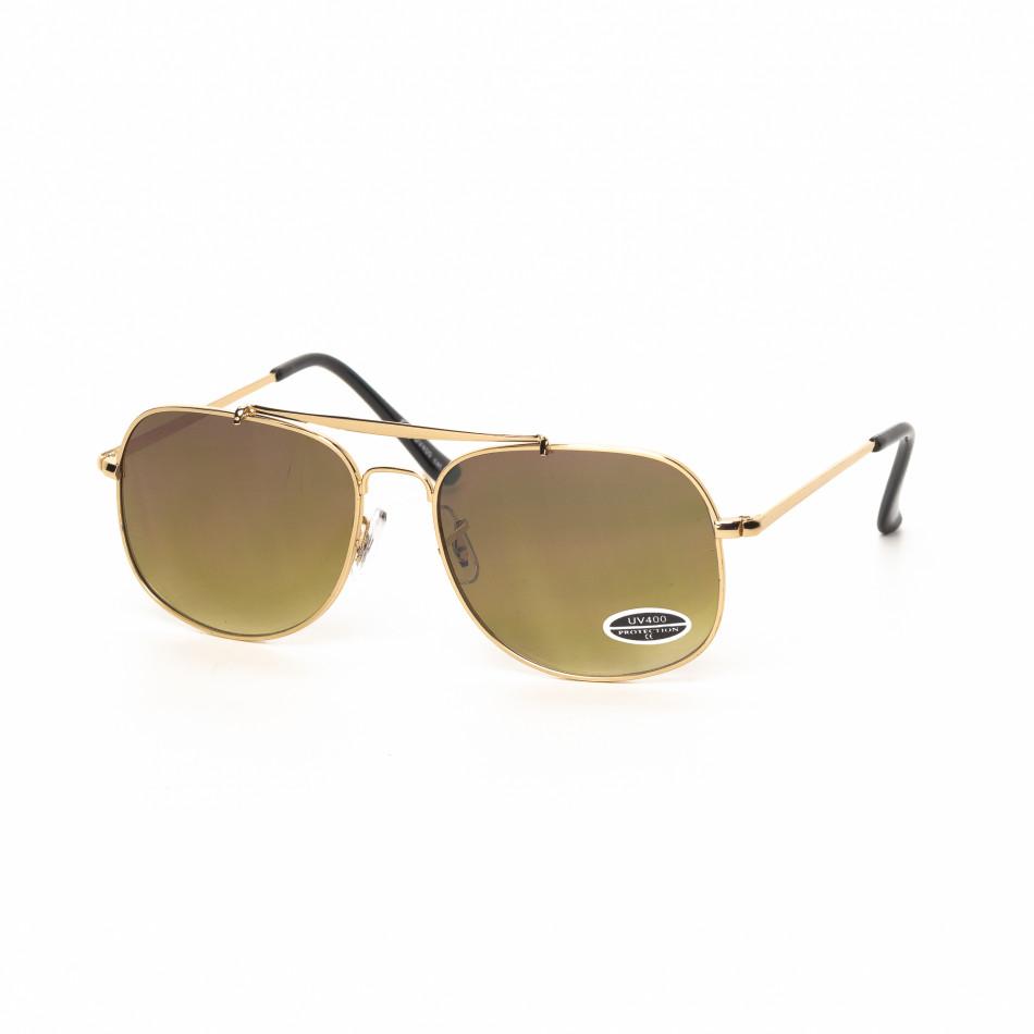 Ανδρικά καφέ γυαλιά ηλίου με χρυσαφί σκελετό it030519-24