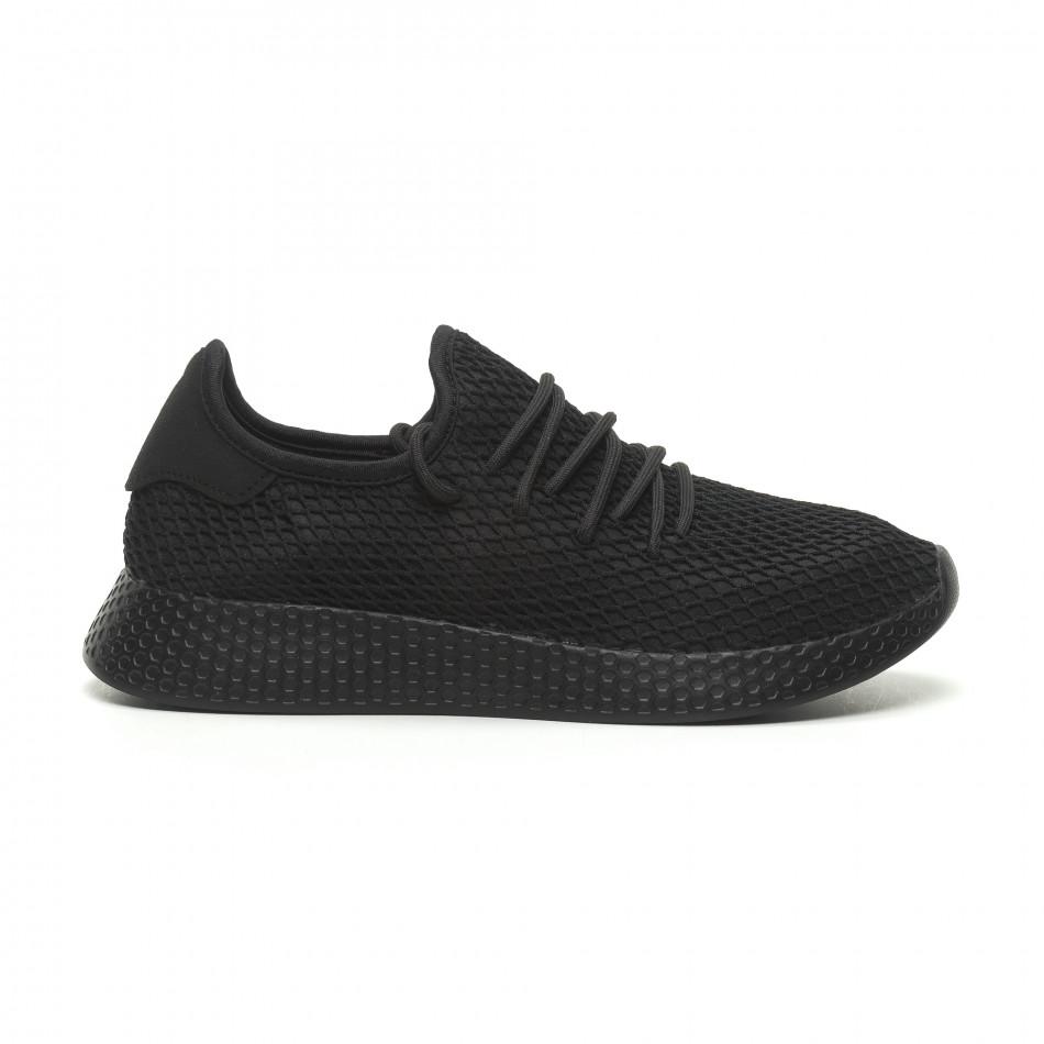 Ανδρικά μαύρα αθλητικά παπούτσια Mesh  it230519-6